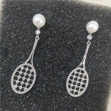 ONETOW New autumn and winter silver pearl earrings hollow micro inlaid tennis racket earrings