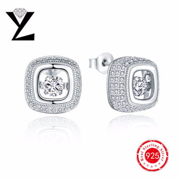 925-Sterling-Silver Square Cut Dancing CZ Diamond Earrings for Women Crystal Stud Earrings Best Friends Gift Top Quality Jewelry