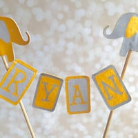 Cake Topper, Personalized, Elephant Theme, Gray and Yellow, Felt, Hand Washable