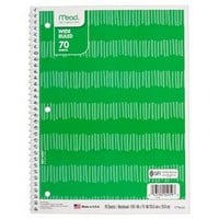 "Mead ® Spiral Notebook, Wide Ruled, 70pgs, 10.5"" x 8"" - Green Stripes : Target"