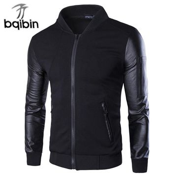 Bomber Jacket Men's Coats Patchwork Leather Men Outerwear Autumn Slim Fit 2018 Brand Male Motorcycle Jackets