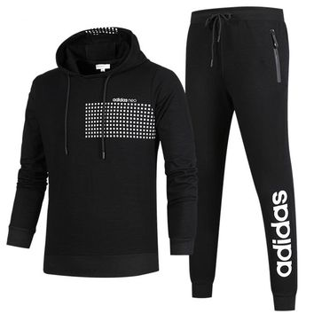 ADIDAS autumn and winter new casual sportswear outdoor running clothes two-piece suit Black