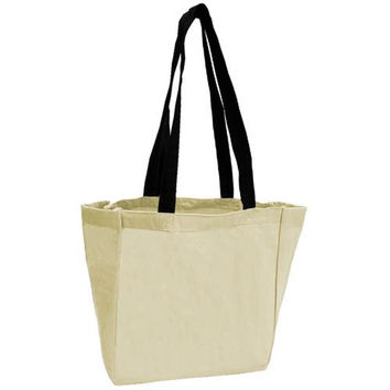 Cotton Woven Bags - Natural/Black