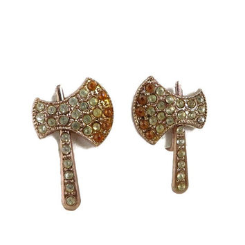Vintage '50s Novelty Earrings, Copper Toned Rhinestone Tomahawk Screwback Earrings