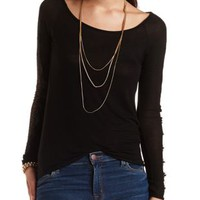 Lace Trim Long Sleeve Top by Charlotte Russe