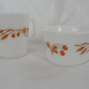 VINTAGE PYREX Cream and Sugar Set/1980's Pyrex Harvest Home Cream Jug and Sugar Bowl/Pyrex Milk Glass Cream and Sugar Serving Set/Retro Look