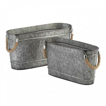 Galvanized Oblong Bucket Set Of 2