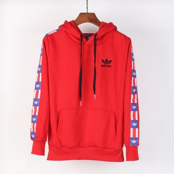 ADIDAS Clover Winter Tide brand men's and women's hooded long-sleeved sweater red