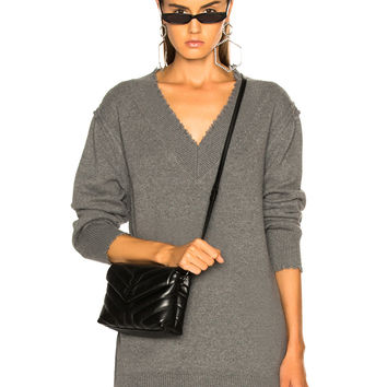 T by Alexander Wang V Neck Dress in Heather Grey | FWRD