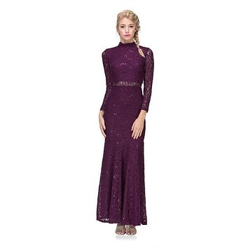 CLEARANCE - Long Sleeve Lace Full Length Dress Plum Mock 2 Piece High Neck (Size Medium)