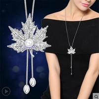 RAVIMOUR Zircon Long Necklace for Women Fashion Silver Color Crystal Maxi Necklaces & Pendants Tassel Statement Collier Jewelry