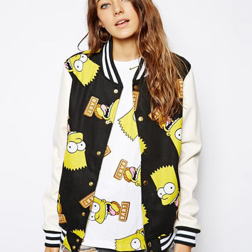 Black Simpson Print Jacket
