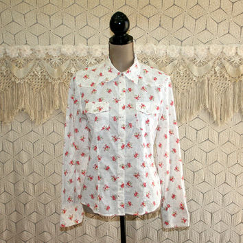 Womens Western Shirt Pearl Snaps Boho Cowgirl White Calico Floral Print Long Sleeve Blouse Cotton Top Tailored GAP Medium Womens Clothing