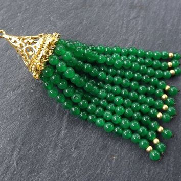 Long Emerald Green Tassel, Green Beaded Tassel, Jade Stone, Gemstone Tassel, Tassel Pendant, Filigree, Boho, 22k Matte Gold Plated 1pc