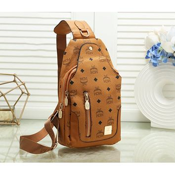 MCM Newest Women Leather Backpack Bookbag Daypack Satchel Brown