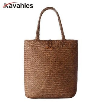 2018 Beach Bag for Summer Big Straw Bags Handmade Woven Tote Women Travel Handbags Luxury Designer Shopping Hand Bags PP-797