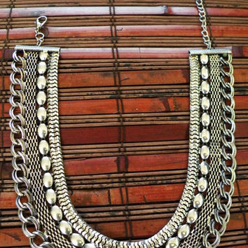 Silver Statement Necklace tribal jewelry