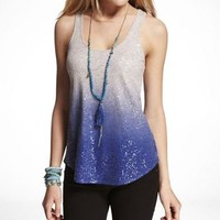 SEQUIN EMBELLISHED DIP DYE HI-LO HEM TANK at Express