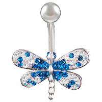 Girls Crystal-Encrusted Dragonfly Non-Dangle Capri Blue Crystal Belly Button Ring [Gauge: 14G - 1.6mm / Length: 10mm] 316L Surgical Steel & Crystal