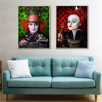 "high quality USA movie canvas "" Alice in Wonderland ""painting print on canvas painting wall pictures for living room bar  quadro"