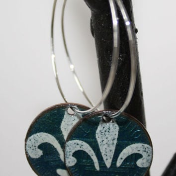 Blue and White Hoop Earrings, Copper Enamel Earrings on Pennies