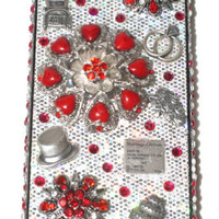 Red Wedding iphone 4 case , Silver iphone 4 case, Bling iPhone case, 3D Cell Phone Cover, Cell Phone Cases, Bridal Accessories