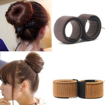 LMFONRZ 1PC Synthetic Wig Donuts Bud Head Band Ball French Twist Magic DIY Tool Bun Maker French Dish Made Hair Band Hair Accessories