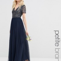 Maya Petite V Neck Maxi Tulle Dress With Tonal Delicate Sequins at asos.com