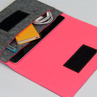 iPad mini cover / iPad mini Case / iPad mini sleeve / iPad mini Organizer - Gray & Hot Pink - Weird.Old.Snail