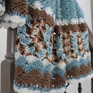 Light Teal and Brown Afghan -  Shell Pattern Crochet Blanket - Toddler Blanket - Travel Throw