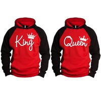 King and Queen Write Two-tone Red / Black Raglan Hoodie