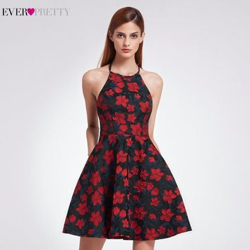 2018 New Sexy Halter Neck Fit Homecoming Dresses Ever Pretty EP05945 Short A Line Women's Retro Floral Print Flare Party Dresses