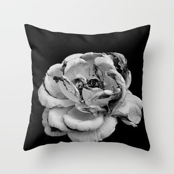 Rose in black and white  Throw Pillow by VanessaGF