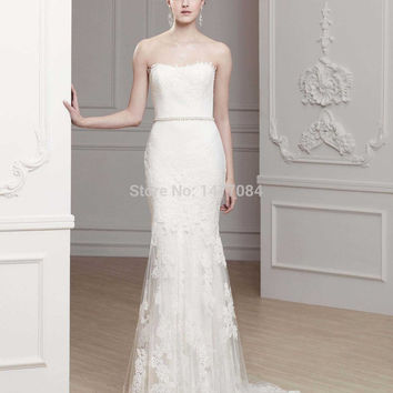 New Arrival Popular Beading Tulle & Lace Wedding Dresses 2015 Crochet Mermaid Dresses For the Wedding