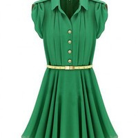 Chiffon Green Lapel Short Sleeve Single-breasted Metal Belt Fold Dress ( color) style 823dr0008 in  Indressme