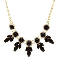 Black Faceted Stone Statement Necklace by Charlotte Russe