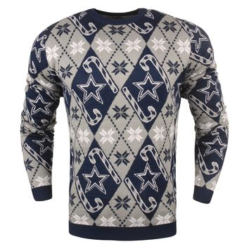 Dallas Cowboys - Mens Official NFL Candy Cane Repeat Crew Neck Sweater