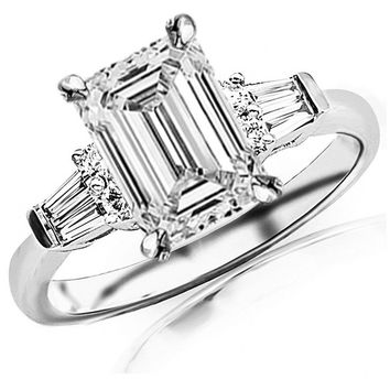 CERTIFIED | 0.85 Carat t.w. GIA Certified Emerald Cut 14K White Gold Prong Set Round And Baguette Diamond Engagement Ring (I-J Color SI1-SI2 Clarity) (Platinum, Yellow, White, Rose)