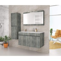 DP Wall Smoked Oak Bathroom Vanity Cabinet Set Single Sink With Mirror Unit (36 in. / 40 in.)