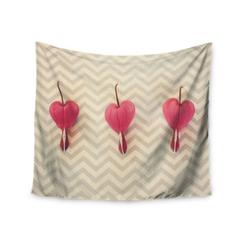 "Robin Dickinson ""Pink Heart With Chevrons"" Floral Wall Tapestry"
