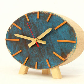 Clock Ellipse Turquoise / Brown / Gold / Wood - vintage style