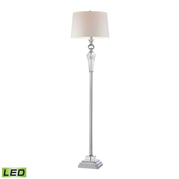 D2841-LED Crystal Column LED Floor Lamp With Chrome Orb - Free Shipping!
