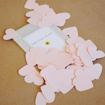 Pink Heart Confetti - Hand Punched Wedding Confetti - Baby Shower Confetti - Party Decor - Biodegradable Confetti - Pack of 100 - 1 Inch