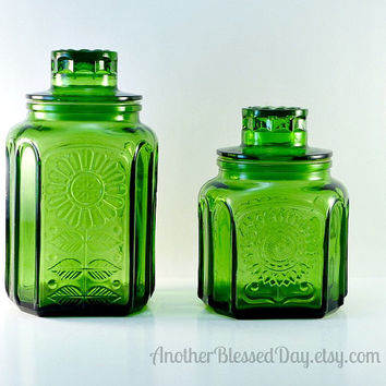 Vintage Wheaton Green Sunflower/Daisy Jars/Canisters 1970s Storage