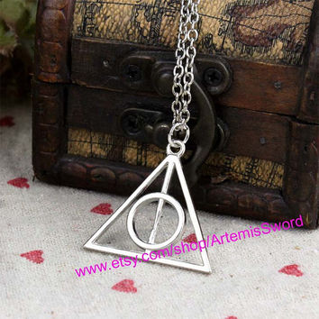 Deathly Hallows Necklace, Deathly Hallows Pendant, Harry Potter, Everyday Necklace, Friendship, Christmas Gift, Graduation, Bridesmaid Gift