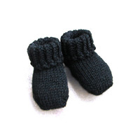 Halloween black baby socks wool blend baby booties choose size: newborn, 3-6 month, 6-12 month