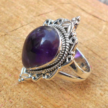 Amethyst Ring - Sterling Silver Ring - Handmade Ring - Designer Ring - Artisan Ring - Solid Silver Ring - Genuine Stone Ring - Gift For Her