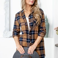 Plaid Long Sleeve Button Down Flannel |Mustard