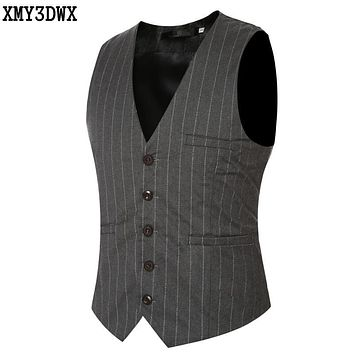 XMY3DWX 2017 Men'S Fashion Suit Vest Male Vertical Stripes Single-Breasted Mens Vest handsome fashion style custom suit vest