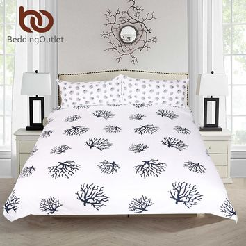 BeddingOutlet Coral Bedding Set Animal Printed Duvet Cover With Pillowcase Dark Blue and White Bed Set Cozy Home Bedclothes 3pcs